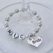 Bride Personalised Wine Glass Charm - Full Bead Style